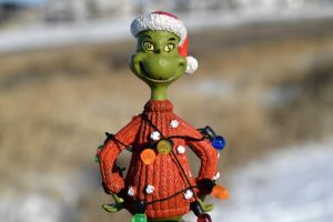A small figurine of the Grinch.