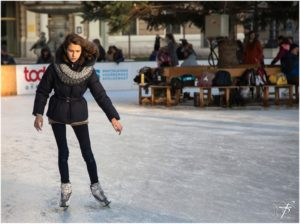 A woman ice skating.