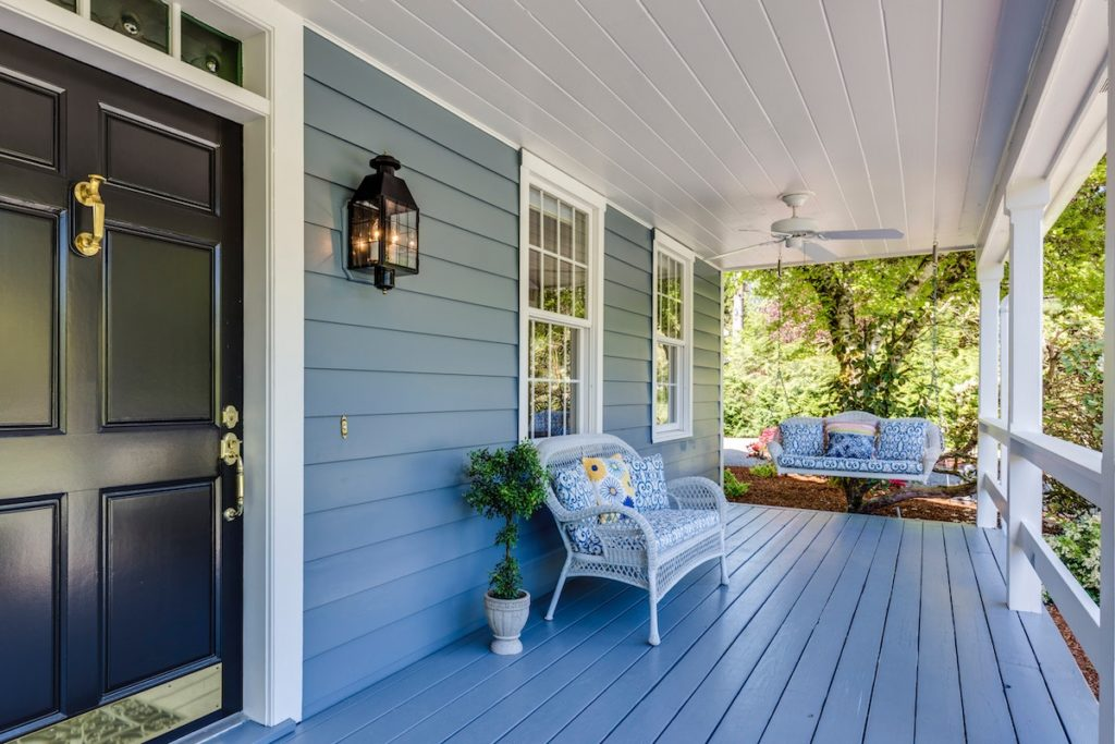 Blue front porch